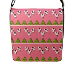 Christmas Angels  Flap Messenger Bag (l)  by Valentinaart