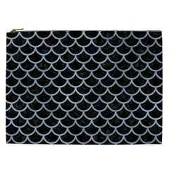 Scales1 Black Marble & Silver Paint (r) Cosmetic Bag (xxl)  by trendistuff
