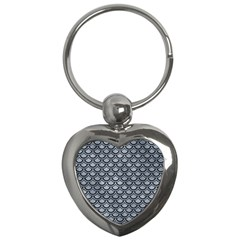 Scales2 Black Marble & Silver Paint Key Chains (heart)  by trendistuff