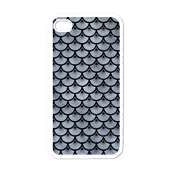 Scales3 Black Marble & Silver Paint Apple Iphone 4 Case (white)