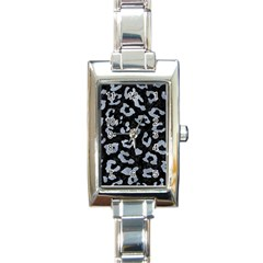 Skin5 Black Marble & Silver Paint Rectangle Italian Charm Watch by trendistuff