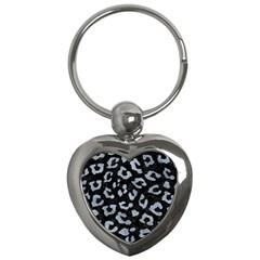 Skin5 Black Marble & Silver Paint Key Chains (heart)  by trendistuff
