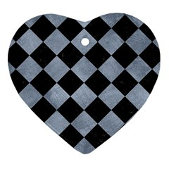 Square2 Black Marble & Silver Paint Heart Ornament (two Sides) by trendistuff