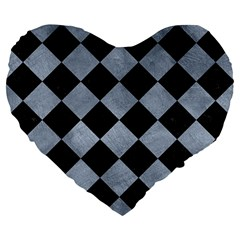 Square2 Black Marble & Silver Paint Large 19  Premium Flano Heart Shape Cushions by trendistuff