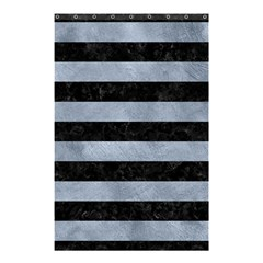 Stripes2 Black Marble & Silver Paint Shower Curtain 48  X 72  (small)  by trendistuff