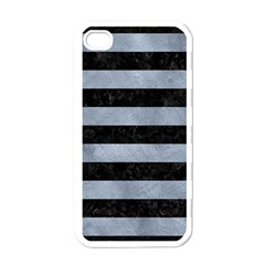 Stripes2 Black Marble & Silver Paint Apple Iphone 4 Case (white)