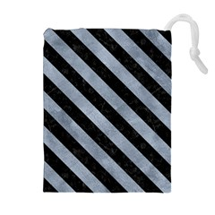 Stripes3 Black Marble & Silver Paint Drawstring Pouches (extra Large) by trendistuff
