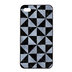 Triangle1 Black Marble & Silver Paint Apple Iphone 4/4s Seamless Case (black) by trendistuff