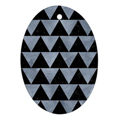 Triangle2 Black Marble & Silver Paint Oval Ornament (two Sides) by trendistuff