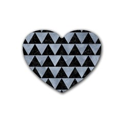 Triangle2 Black Marble & Silver Paint Heart Coaster (4 Pack)  by trendistuff