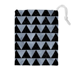Triangle2 Black Marble & Silver Paint Drawstring Pouches (extra Large) by trendistuff