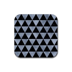 Triangle3 Black Marble & Silver Paint Rubber Square Coaster (4 Pack)  by trendistuff