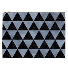 Triangle3 Black Marble & Silver Paint Cosmetic Bag (xxl)  by trendistuff