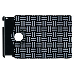 Woven1 Black Marble & Silver Paint (r) Apple Ipad 3/4 Flip 360 Case by trendistuff