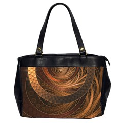 Brown, Bronze, Wicker, And Rattan Fractal Circles Office Handbags (2 Sides)  by beautifulfractals