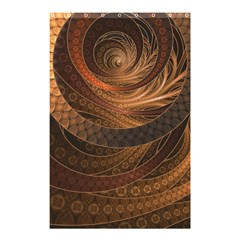 Brown, Bronze, Wicker, And Rattan Fractal Circles Shower Curtain 48  X 72  (small)  by jayaprime