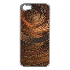 Brown, Bronze, Wicker, And Rattan Fractal Circles Apple Iphone 5 Case (silver) by beautifulfractals