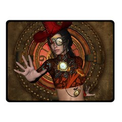 Steampunk, Wonderful Steampunk Lady Double Sided Fleece Blanket (small)  by FantasyWorld7