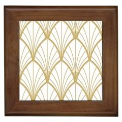 Art Deco, Beautiful,fan Pattern, Gold,white,vintage,1920 Era, Elegant,chic,vintage Framed Tiles by 8fugoso