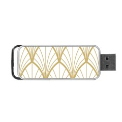 Art Deco, Beautiful,fan Pattern, Gold,white,vintage,1920 Era, Elegant,chic,vintage Portable Usb Flash (two Sides) by 8fugoso