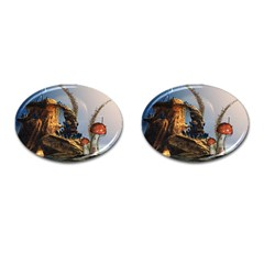 Wonderful Seascape With Mushroom House Cufflinks (oval) by FantasyWorld7