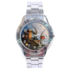 Wonderful Seascape With Mushroom House Stainless Steel Analogue Watch by FantasyWorld7
