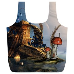 Wonderful Seascape With Mushroom House Full Print Recycle Bags (l)  by FantasyWorld7