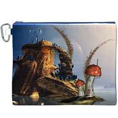 Wonderful Seascape With Mushroom House Canvas Cosmetic Bag (xxxl) by FantasyWorld7