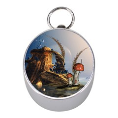 Wonderful Seascape With Mushroom House Mini Silver Compasses by FantasyWorld7