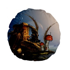 Wonderful Seascape With Mushroom House Standard 15  Premium Flano Round Cushions by FantasyWorld7