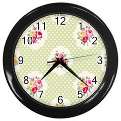 Green Shabby Chic Wall Clocks (black) by 8fugoso