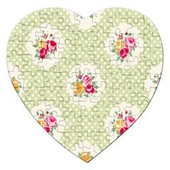 Green Shabby Chic Jigsaw Puzzle (heart) by 8fugoso