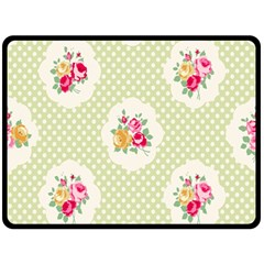 Green Shabby Chic Double Sided Fleece Blanket (large)  by 8fugoso