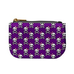 Cute Skulls And Bows Coin Change Purse by Ellador