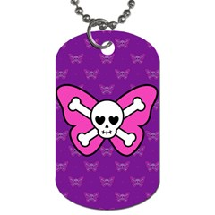 Cute Butterfly Skull Dog Tag (two Sided)  by Ellador