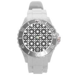 Black White Pattern Seamless Monochrome Round Plastic Sport Watch (l)