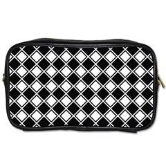 Black White Square Diagonal Pattern Seamless Toiletries Bags by Celenk