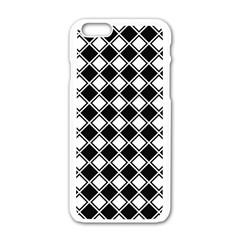 Black White Square Diagonal Pattern Seamless Apple Iphone 6/6s White Enamel Case by Celenk