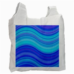 Blue Background Water Design Wave Recycle Bag (one Side) by Celenk