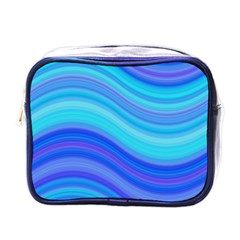 Blue Background Water Design Wave Mini Toiletries Bags by Celenk