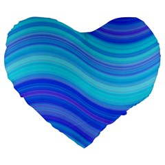 Blue Background Water Design Wave Large 19  Premium Heart Shape Cushions by Celenk