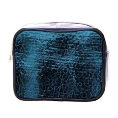 Blue Black Shiny Fabric Pattern Mini Toiletries Bags by Celenk