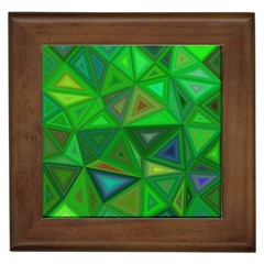 Green Triangle Background Polygon Framed Tiles by Celenk