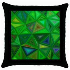 Green Triangle Background Polygon Throw Pillow Case (black) by Celenk