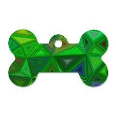 Green Triangle Background Polygon Dog Tag Bone (one Side) by Celenk