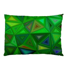 Green Triangle Background Polygon Pillow Case by Celenk