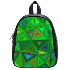Green Triangle Background Polygon School Bag (small) by Celenk