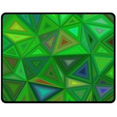 Green Triangle Background Polygon Fleece Blanket (medium)  by Celenk