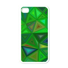 Green Triangle Background Polygon Apple Iphone 4 Case (white) by Celenk