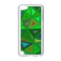 Green Triangle Background Polygon Apple Ipod Touch 5 Case (white) by Celenk